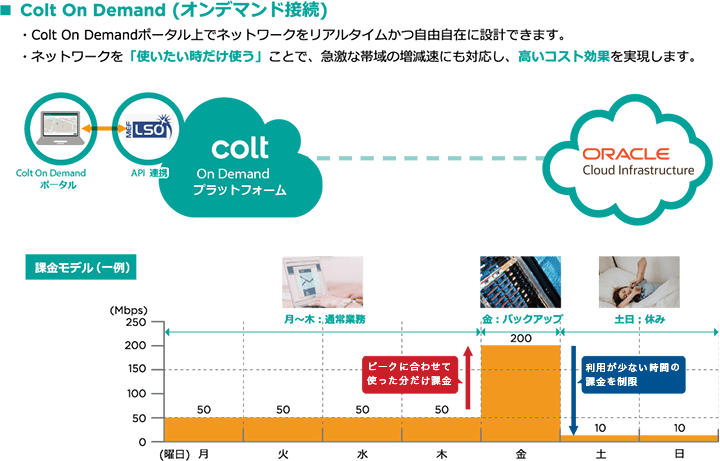 オンデマンド接続のイメージ(Oracle Cloud Infrastructure)