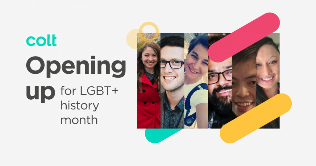"Social image with pictures of people and text saying ""opening up for LGBT+ history month"""
