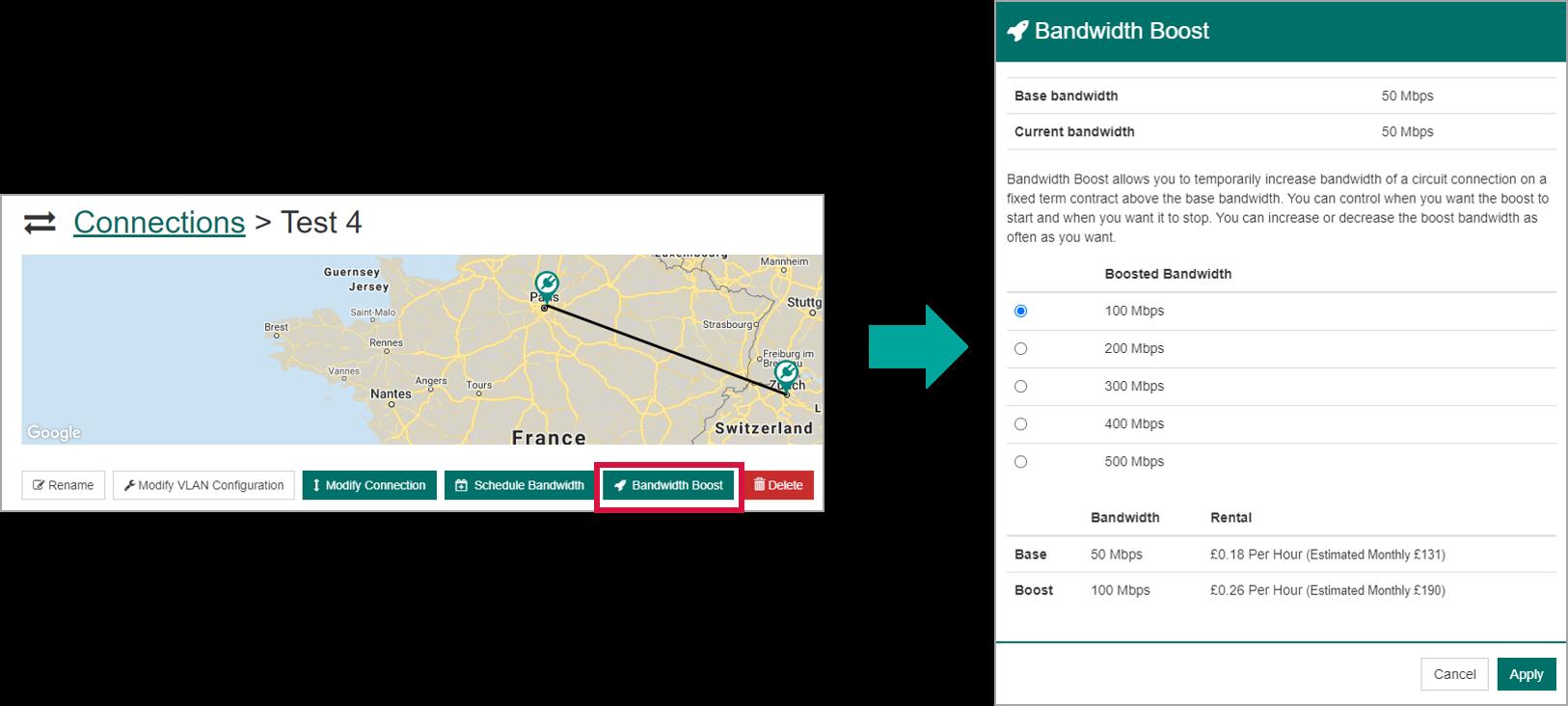 Bandwidth boost portal
